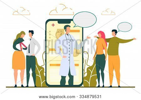 Reproductive Medicine. Doctor Consulting Man Woman Online Vector Illustration. Mother Holding Baby.