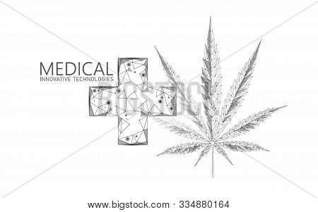 Low Poly 3d Medical Marijuana Leaf. Legalize Medical Pain Treatment Concept. Cannabis Weed Medicine