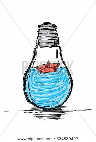 Explore The Ideas - Light Bulb With Ocean And Boat- Vector Illustration