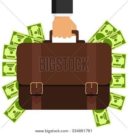 Bussiness, Hand Holding Briefcase. A Hand Is Holding A Briefcase Full Of Money. Vector Illustration