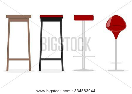 Bar Stool, Modern Metal And Wood Bar Stool. Bar Stool Side View And Isometric View. Vector Illustrat