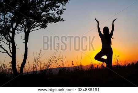 Yoga tree pose by woman silhouette with sunset. Virabhadrasana, Hatha