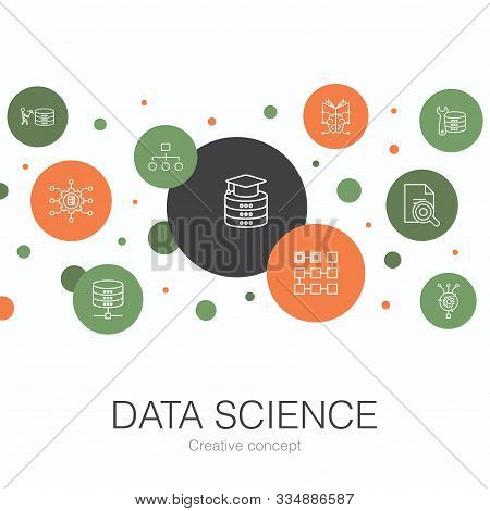 Data Science Trendy Circle Template With Simple Icons. Contains Such Elements As Machine Learning, B