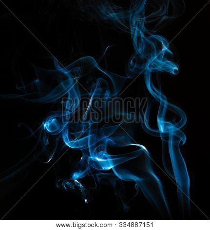 Close Up Of Smoke On Black Background. Smoke Stock Image. Smoke Cloud. Fog Clouds, Smoky Mist And Re