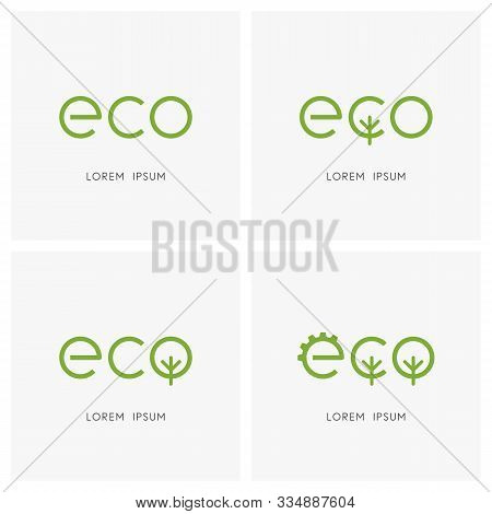 Green Eco Logo Set. Gear Wheel, Tree Or Forest And Ecology Symbol - Environment Conservation, Nature