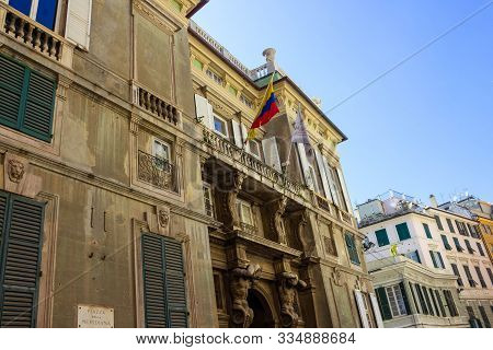 Genoa, Liguria, Italy - September 11, 2019: Palace Palazzo Grimaldi Della Meridiana, Typical Colorfu
