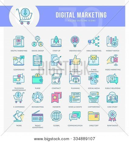 Set Of Filled Outline Multicolor Icons On Following Themes -business, Marketing, Digital Marketing,