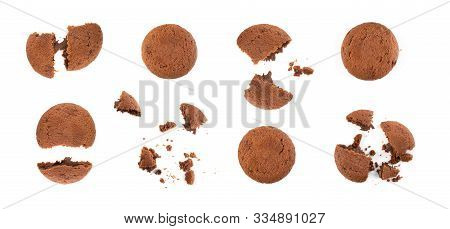 Soft Chocolate Butter Cookies With Chocolate Filling Isolated