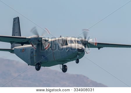 Torre Del Mar, Malaga, Spain-jul 29:  Aircraft Casa C-212 Taking Part In A Exhibition On The 3rd Air