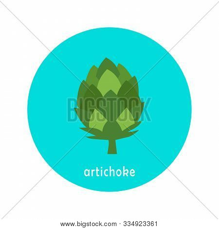 Vector Artichoke Icon Isolated On White Background.  Flat Blue Circle Icon With Vegetable. Healthy F