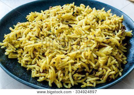 Indian Food Yellow Curry Jeera Zira Rice Basmati Pilaf Or Pilav.