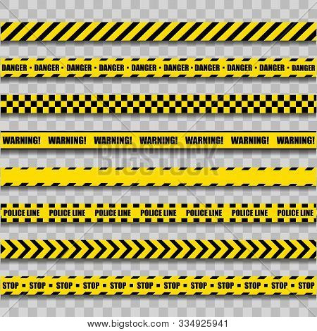Police Warning Line. Yellow And Black Barricade Construction Tape On Transparent Background. Vector