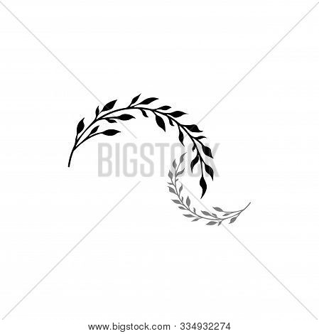 Vector Illustration - Two Twigs Isolated. Twig Silhouette - Vegetation