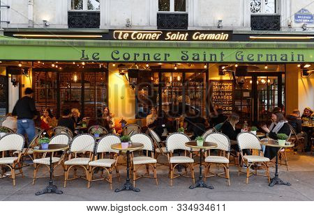 Paris, France-november 17, 2019 : The Traditional French Cafe Le Corner Saint Germain Located In Sai