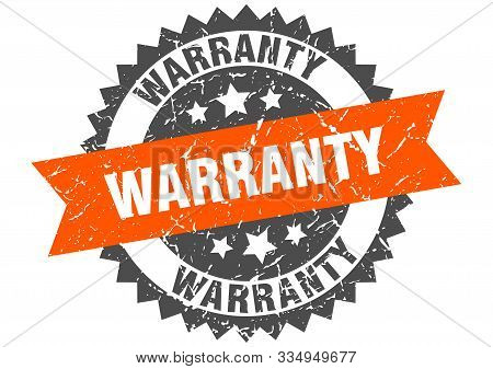 Warranty Grunge Stamp With Orange Band. Warranty