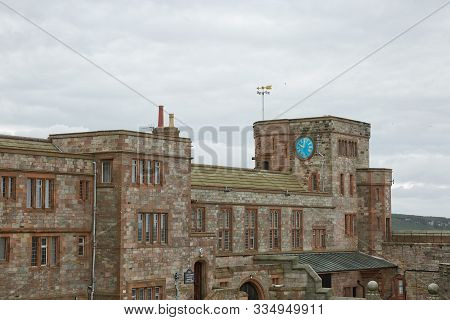 View Of Bamburgh Castle In Northumberland, England, Uk