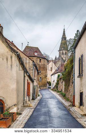 Historical Street In Semur-en-auxois Old City, France