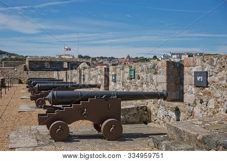Traversing Carriage Cannon At Castle Cornet In St Peter Port, Guernsey, Uk