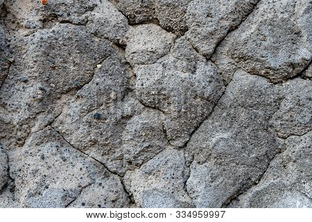 Gray Old Beton Concrete Wall, Abstract Background Photo Texture.