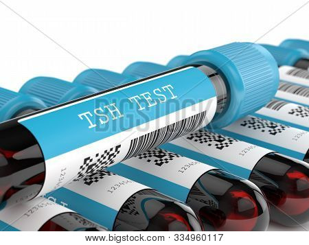3d Render Of Tsh Test Blood Tubes Over White Background
