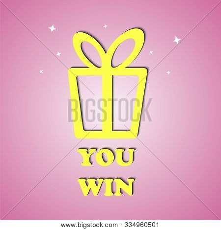 Gift Icon Box. You Win. Lottery Drawing Advertising Banner Template. Vector Illustration