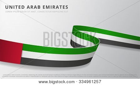 Flag Of United Arab Emirates. Realistic Wavy Ribbon With Uae Flag Colors. Graphic And Web Design Tem