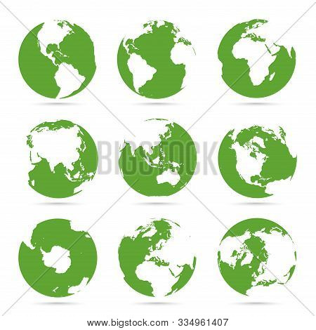 Globes Icon Collection. Green Globe. Planet With Continents