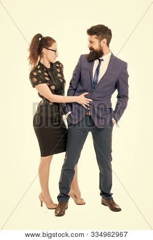 Flirting With Boss. Man And Woman Business Colleagues. Office Flirt. Career Company. Office Couple.