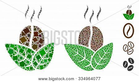 Organic Coffee Mosaic Of Bumpy Elements In Variable Sizes And Color Tints, Based On Organic Coffee I