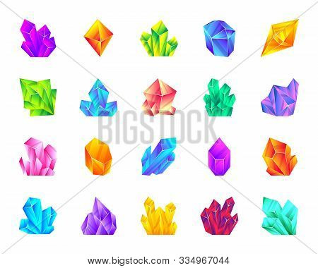 Crystal Flat Cartoon Icons Set. Gemstone Kit Isolated On White. Mineral Collection Amethyst, Ruby, S