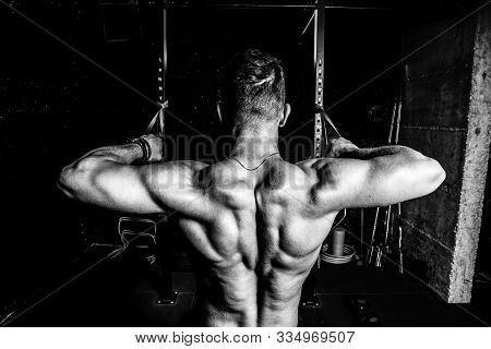 Back Muscles Workout, Young Muscular Fit Sweaty Strong Man Doing Cross Workout Training For Back Mus