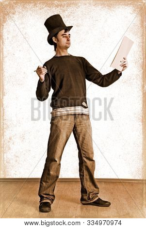 Vintage photo of author stays and writes his literary work