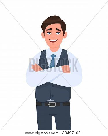 Young Man In Formal Waistcoat Standing Crossed Arms Pose. Male Character Design Illustration. Human