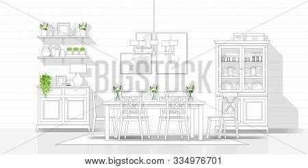 Interior Design With Modern Dining Room In Black Line Sketch On White Background , Vector , Illustra