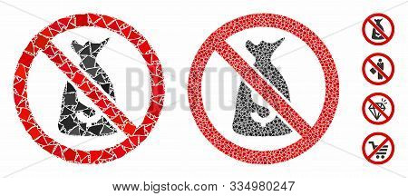No Funds Mosaic Of Bumpy Pieces In Variable Sizes And Color Tinges, Based On No Funds Icon. Vector B