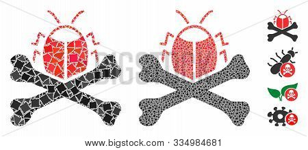 Pesticide Mosaic Of Bumpy Parts In Variable Sizes And Shades, Based On Pesticide Icon. Vector Bumpy