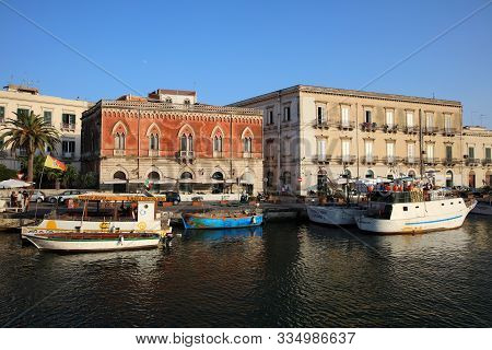 Syracuse, Sicily, Italy - September 01, 2019: Tourist Boat Trip Around The Ortygia Island In Syracus