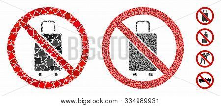 No Baggage Mosaic Of Trembly Pieces In Different Sizes And Color Tinges, Based On No Baggage Icon. V