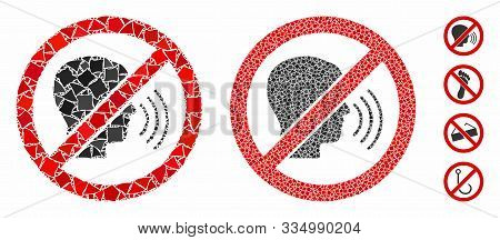 No Speaking Mosaic Of Humpy Items In Different Sizes And Color Tones, Based On No Speaking Icon. Vec