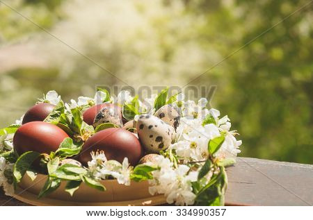 Happy Easter. Congratulatory Easter Background. Easter Cake With Easter Eggs On A Wooden Window Sill