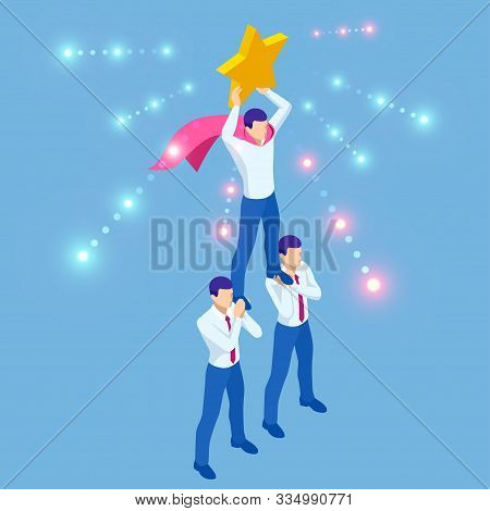 Isometric Teamwork Businessmen Pyramid To Reach Rating Star. Reaching The Stars. Team, Leader, Super