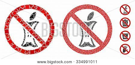 Do Not Litter Mosaic Of Abrupt Parts In Variable Sizes And Color Hues, Based On Do Not Litter Icon.
