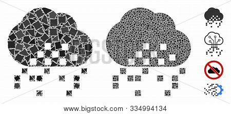 Cloud Dissipation Composition Of Ragged Pieces In Different Sizes And Color Tones, Based On Cloud Di