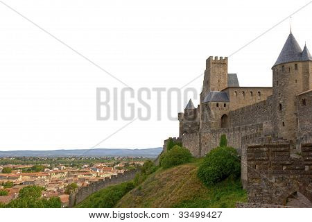 Medieval City Of Carcassonne Isolated On White