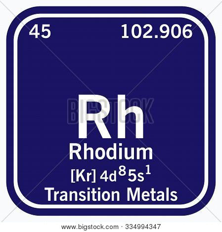 Rhodium Periodic Table Of The Elements Vector Illustration Eps 10.