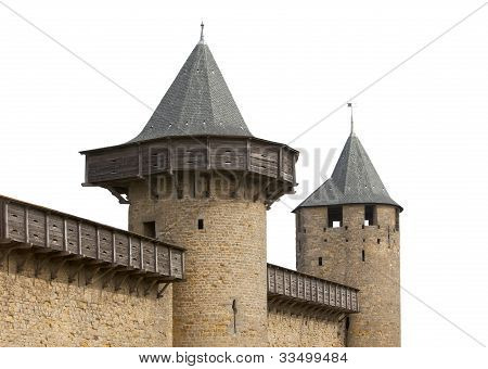 Medieval Castle Towers Isolated On White