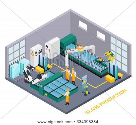 Glass Production Isometric Composition With Text And Indoor View Of Glassworks Operating Department