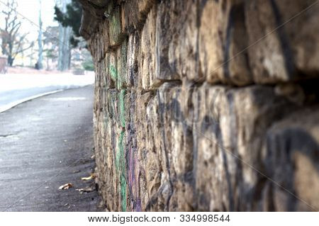 Wall Along The Sidewalk, Background For Travel Or Stories
