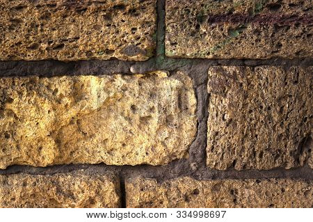 Golden Bricks Brick Wall Background And Splash