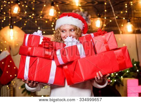New Year Is Coming. Happy New Year. Delivery Christmas Gifts. Woman And Christmas Time. Merry Christ